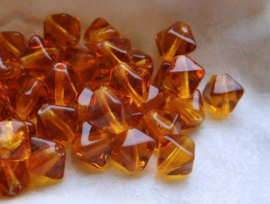 set/20 Kralen: CZECH GLASS - Bicone Spacers - 5,5x5 mm - Amber
