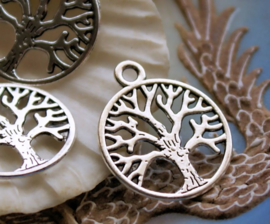 set/3 Bedels: Levensboom - Tree of Life - 24x20 mm - Antiek Zilver Kleur - Wicca Celtic Viking