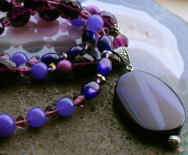 C&G Collier: Paars & Violet Agaat - Jade - Czech Glass