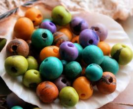 set/25 Kralen: Amazone Acai Cerebro Zaden - ca 7-9 mm - Lila Turquoise Geel Groen