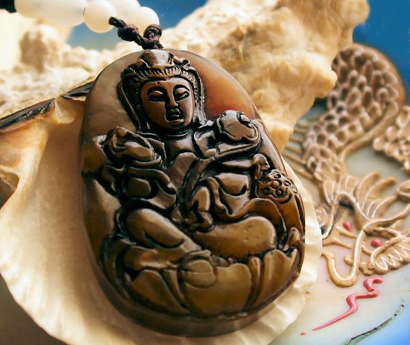 Mooie Hanger van echt Jade: Bodhisattva - boeddhistisch - 49 mm