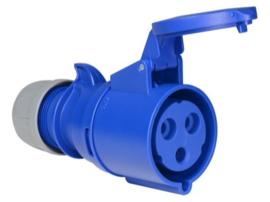 CEE 32A contrastekker blauw 230V IP44