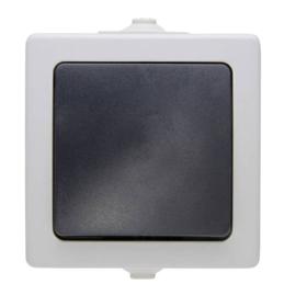 schakelaar enkel of wissel opbouw grijs 230V