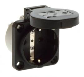 Inbouw contactdoos zwart 230V 16A IP54