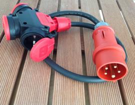 rubber verdeelblok met CEE 16A 400V aansluiting