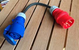 CEE rood 32A e-mobiel laadadapter naar CEE blauw 32A 230V AC