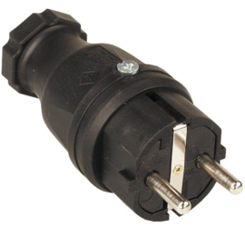 volrubber stekker zwart 230V 16A IP44
