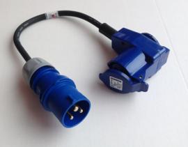 CEE 16A verloop adapter met extra wcd 230V