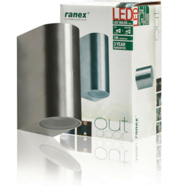 Ranex Kimi rvs wandlamp led 2 x 3 Watt 230V