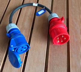 CEE 16A verloop stroom adapter 380V - 400V naar CEE 16A 230V