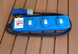 CEE 16A 3-voudig randaarde stekkerblok blauw met kabel 230V