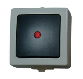 schakelaar met indicator opbouw grijs 230V
