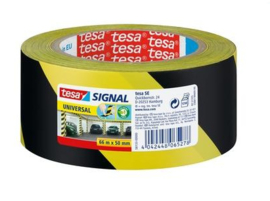 Tesa markerings tape geel-zwart 50mm 66 meter