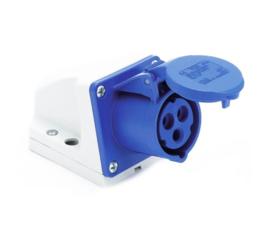 CEE 16A 3-polig wanddoos blauw 230V