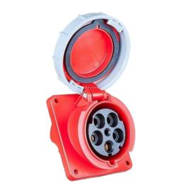 CEE 125A wand contactdoos schuin 5-polig 380V - 400V AC IP67