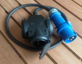 rubber verdeelblok met CEE 16A 3-polig 230V aansluiting