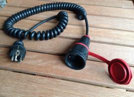spiraal kabel zwart reklengte 2,5 meter 230V 16A
