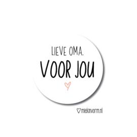 Sticker Lieve Oma, voor jou