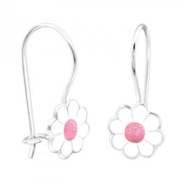 Oorbellen Bloemen wit/roze
