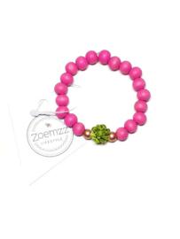 Armband fel roze met olijfgroene bloem