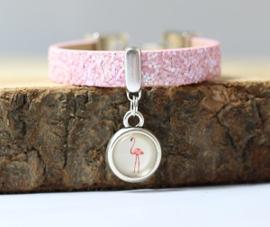 Glitter armband Flamingo Roze