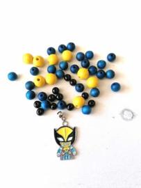 DIY armband Superheld blauw/geel