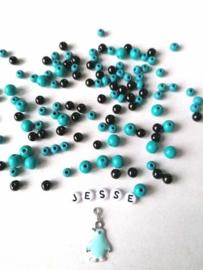 DIY naamarmband aqua/ zwart
