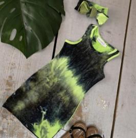 Jurk Dyewash Groen/ zwart