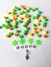 DIY naamarmband Groen/ geel