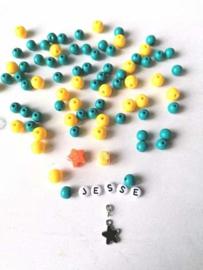 DIY naamarmband aqua/ geel