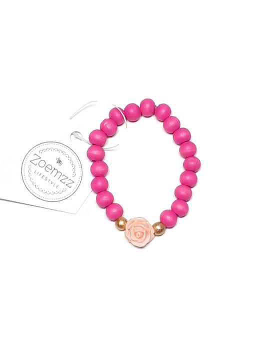 Armband Fel roze met lichtroze bloem