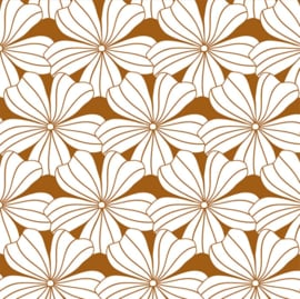 SWEDISH LINENS TWEEPERSOONS HOESLAKEN 160 X 200 CM FLOWERS CINNAMON BROWN