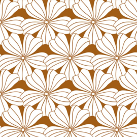 SWEDISH LINENS LEDIKANT HOESLAKEN 120 x 60 CM FLOWERS CINNAMON BROWN