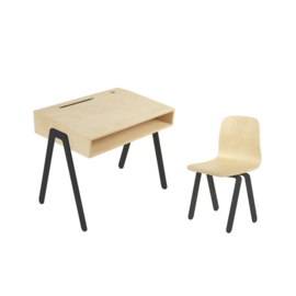 IN2WOOD KINDERBUREAU EN STOEL SET ZWART