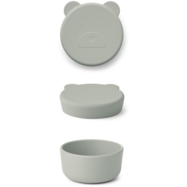 LIEWOOD CARRIE SNACK BOX  MR BEAR DOVE BLUE