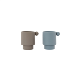 OYOY TINY INKA CUP (SET VAN 2) DUSTY BLUE / CLAY
