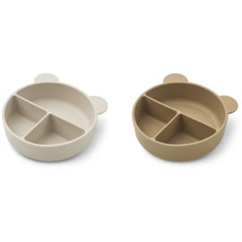LIEWOOD CONNIE DIVIDER BOWL 2 PACK SANDY / OAT MIX