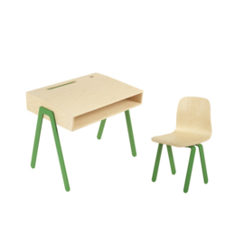 IN2WOOD KINDERBUREAU EN STOEL SET GROEN