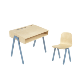 IN2WOOD KINDERBUREAU EN STOEL SET BLAUW