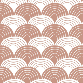 SWEDISH LINENS TWEEPERSOONS HOESLAKEN 160 X 200 CM RAINBOWS TERRACOTTA PINK