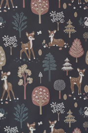 MAJVILLAN WALLPAPER GOLDEN WOODS DEEP GREY BEHANG