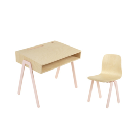 IN2WOOD KINDERBUREAU EN STOEL SET ROZE