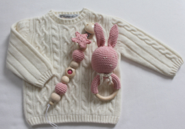 JA Baby Design - Handmade Crochet Set  Pacifier Holder & Rattle - Baby Pink