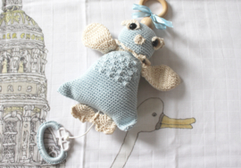 JA Baby Design - Handmade Crochet Owl With Music Box -  Baby Blue