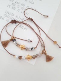 Estilo Decoration - Mother & Daughter Macramé Bracelet Turtle & Tassel