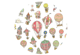 Atelier Choux - Large Swaddle Print: Hot Air Balloons
