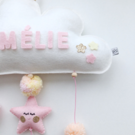 Tiny Little Cactus - Handmade Name Mobile (Yellow-Peach-Pink)