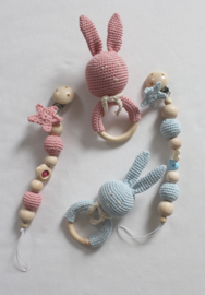 JA Baby Design - Handmade Crochet Set  Pacifier Holder & Rattle - Baby Pink