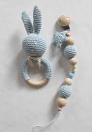 JA Baby Design - Handmade Crochet Set  Pacifier Holder & Rattle - Baby Blue