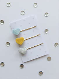 Tiny Little Cactus - Hair Clips Hearts Baby Blue/Oker/Silver